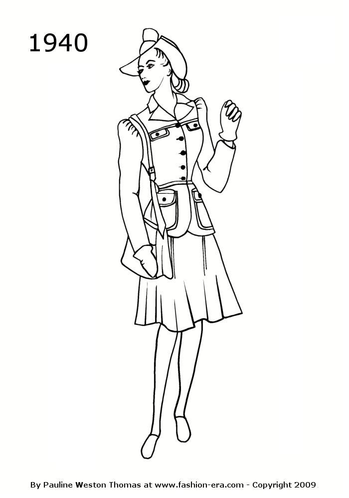 Costume History Silhouettes 1940s Free Timeline Drawings Womens