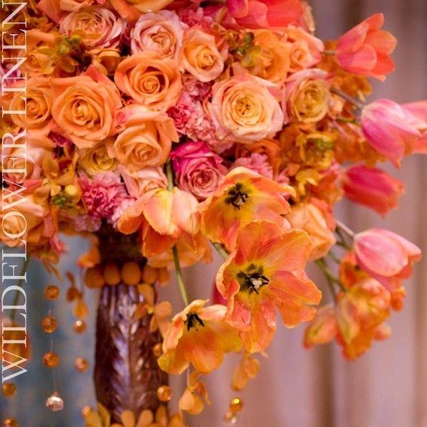 orange flowers via Polyvore