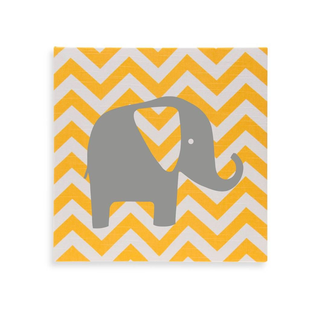 Glenna Jean Swizzle Chevron Elephant Wall Art in Yellow/Grey ...
