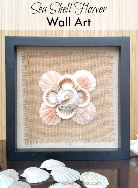 Diy Seashell Flower Wall Art My Pinterventures Seashell Wall Decor Flower Wall Art Flower Wall