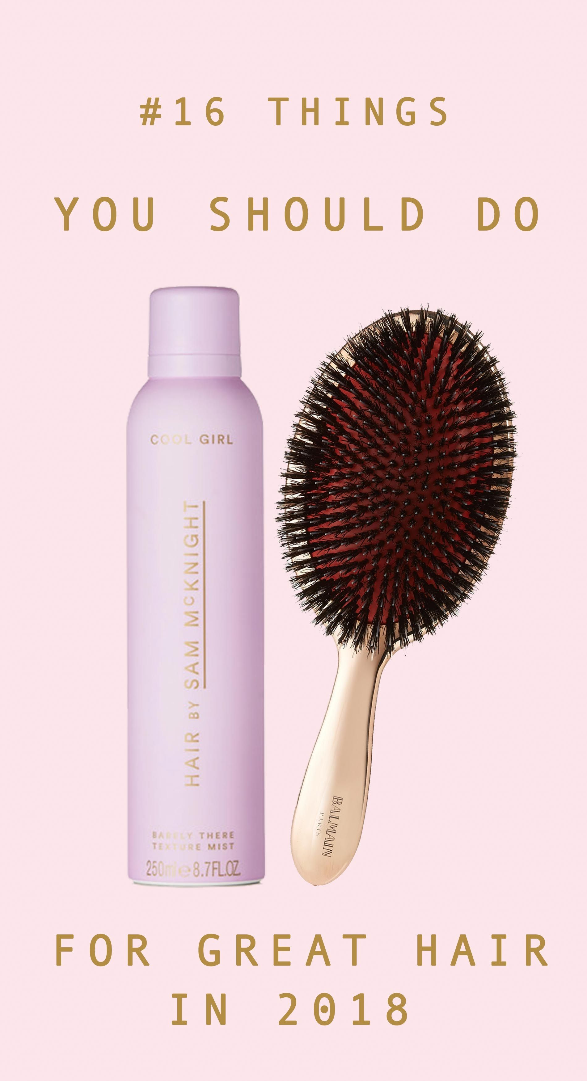 caf3c98d Balmain Hair Couture rose gold brush and Sam McKnight Cool Girl Barely  There Texture Mist