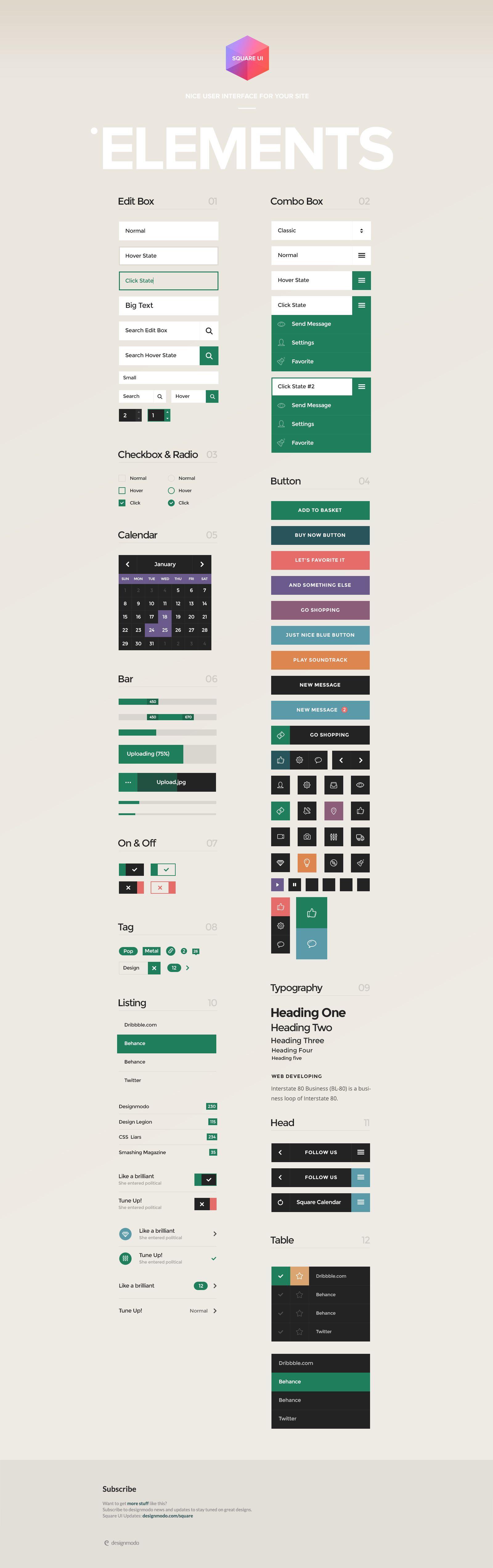Using Square Blocks in Web Design   Mobile app flat design ...