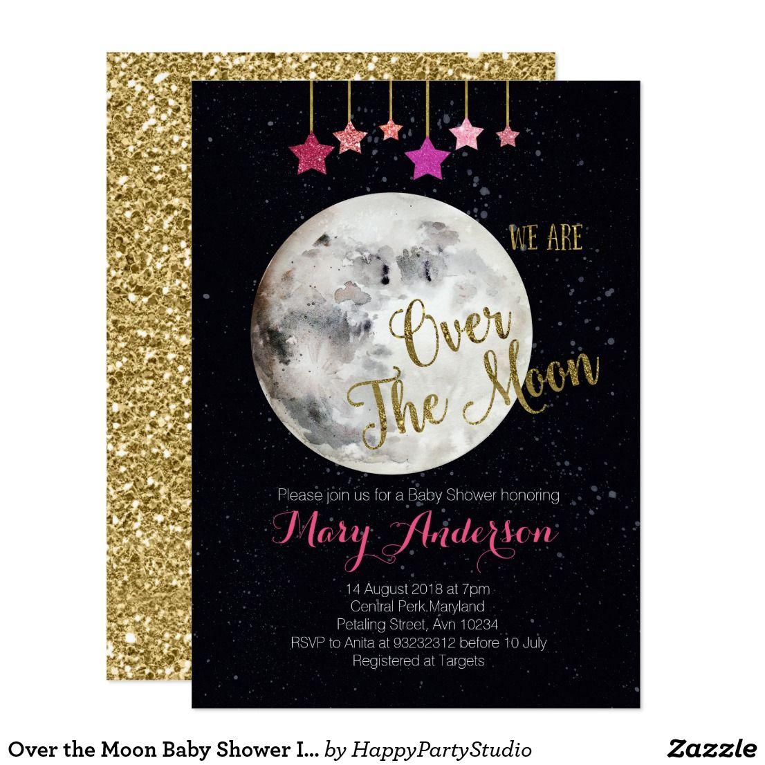 Over The Moon Baby Shower Invitation Zazzle Com Moon Baby Shower Invitation Moon Baby Shower Baby Shower Invitations