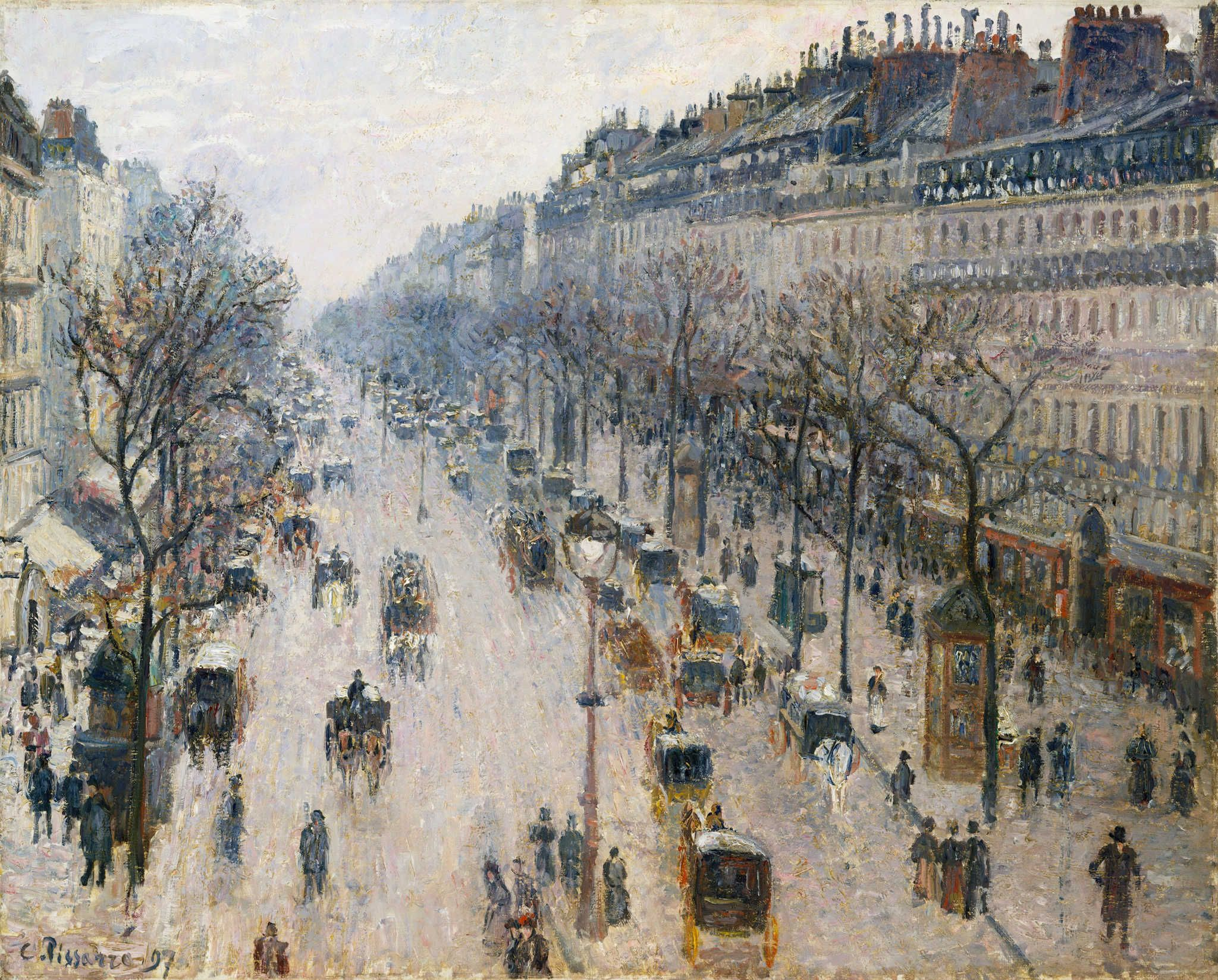 Camille Jacob Pissarro Boulevard Montmartre Spring Giclee Canvas Print Paintings
