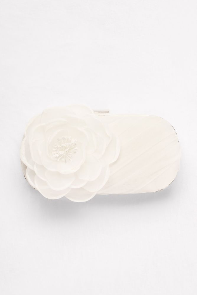 White by Vera Wang Tulle Clutch with Flower - Ivory