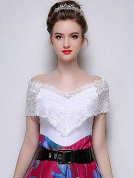 dc6a75d78b1044 White Off Shoulder Semi-sheer Lace Frill Layered Top