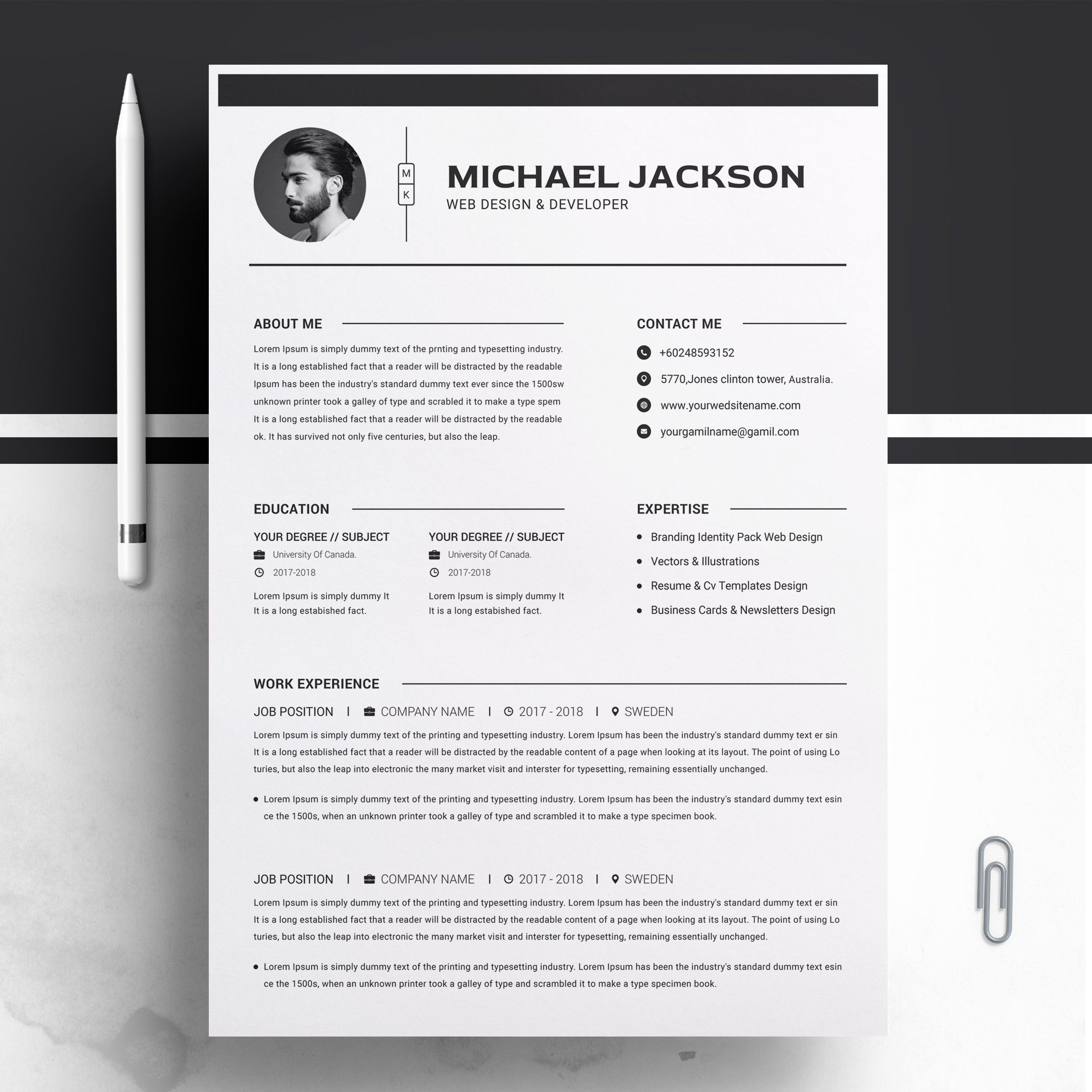 Clean Cv Template Sponsored Icons Color Areas Colored Ad