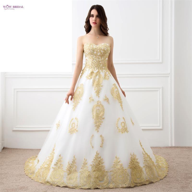 White Embroidery Wedding Dress gold Lace Appliques Bridal Gowns lace up corset  https://t.co/DJz6b39elQ https://t.co/qiwntg96oB