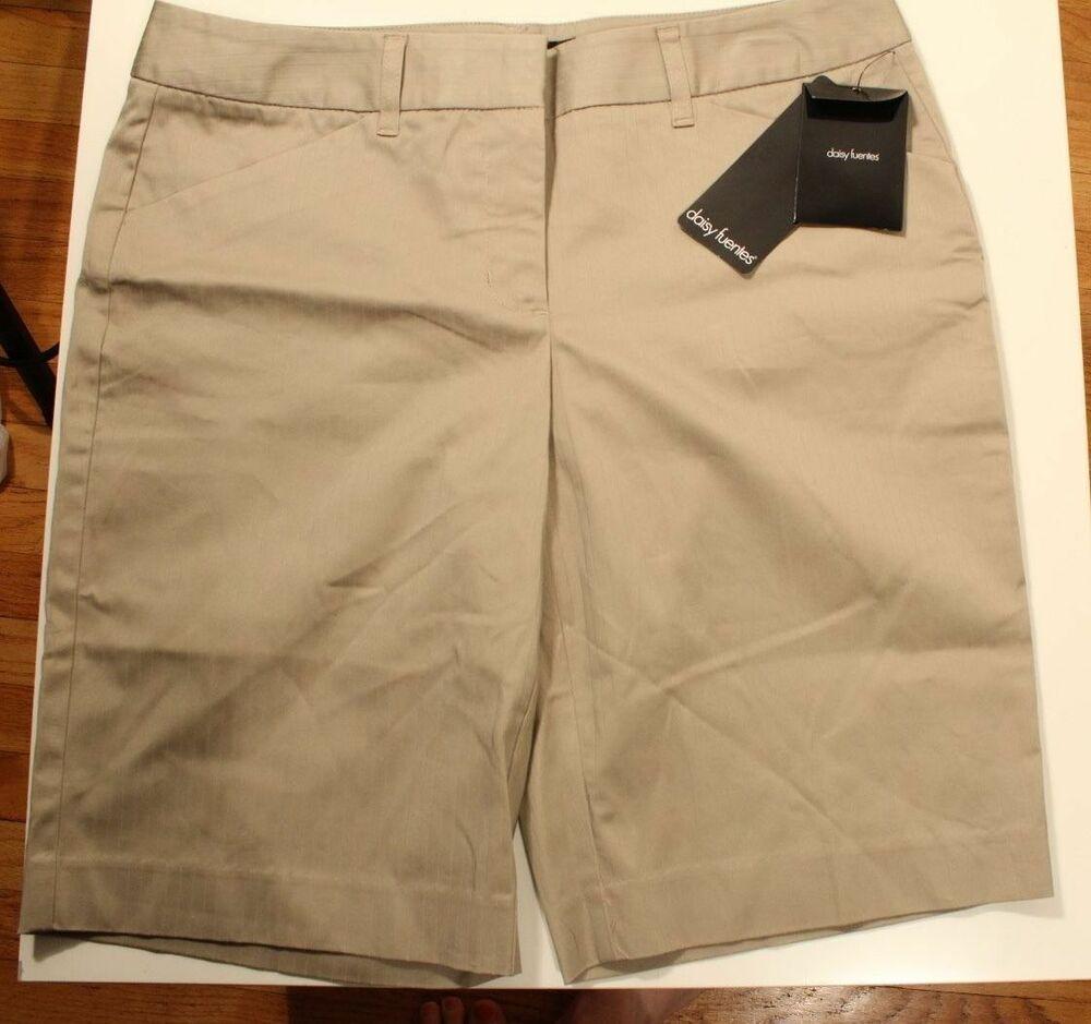 404728b4ab (eBay Sponsored) NEW $36 Daisy Fuentes Striped Khaki Bermuda Shorts Dobby  Short Style Size