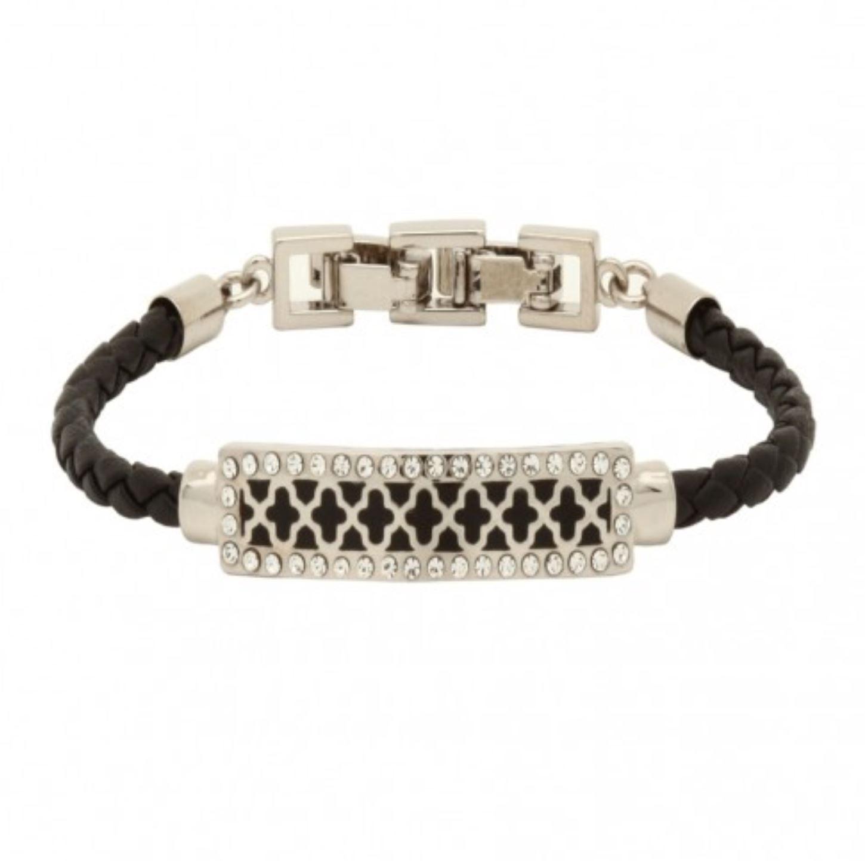 392525c8d9c Halcyon Days, Agama Sparkle Woven Leather Black & Palladium ID Bracelet