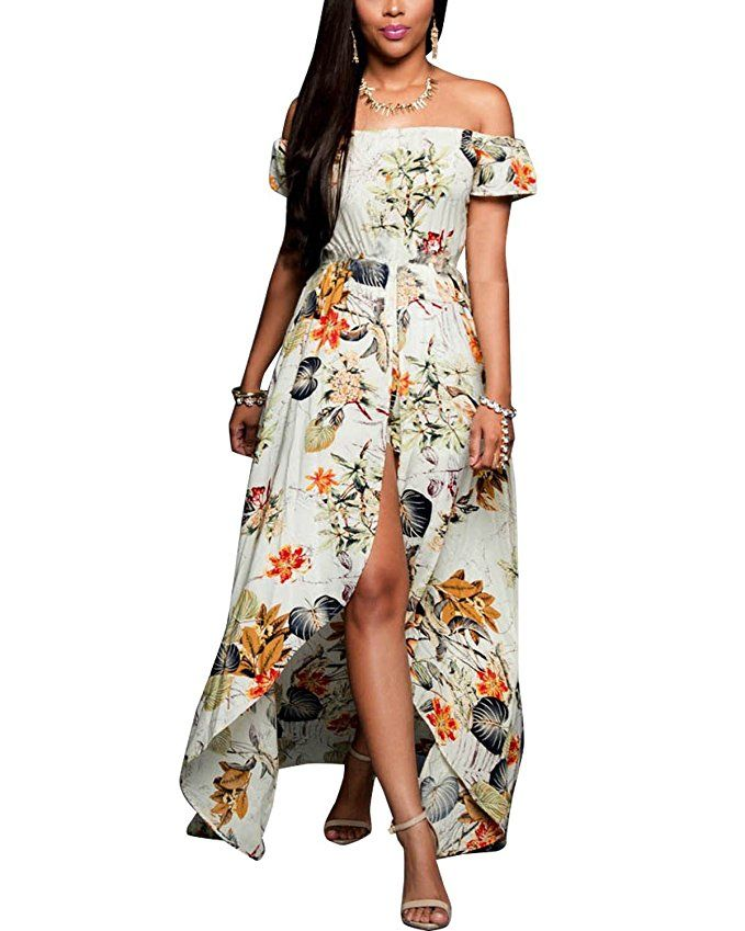 039d70048f BIUBIU Women's Off Shoulder Floral Rayon Party Split Maxi Romper Dress  S-3XL at Amazon Women's Clothing store: