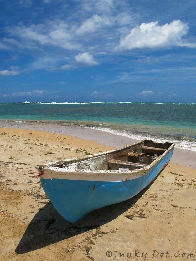 Las Terrenas fishing boat at the beach - Dominican Republic #junkydotcom