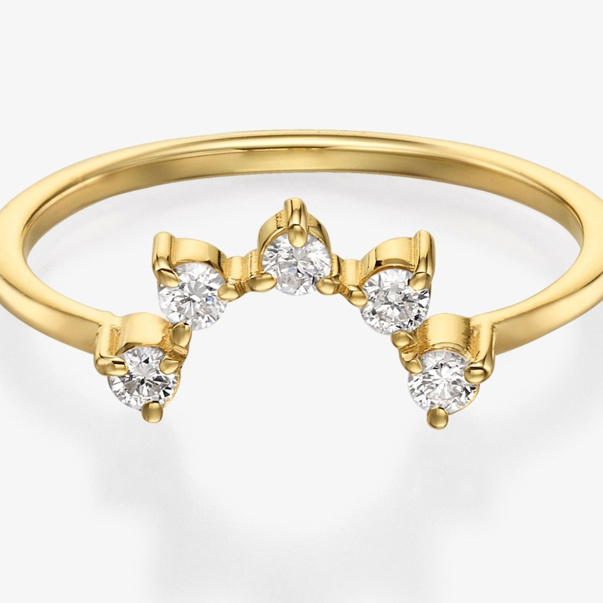 This stunning cubic zirconia 14k / 18k solid gold ring is