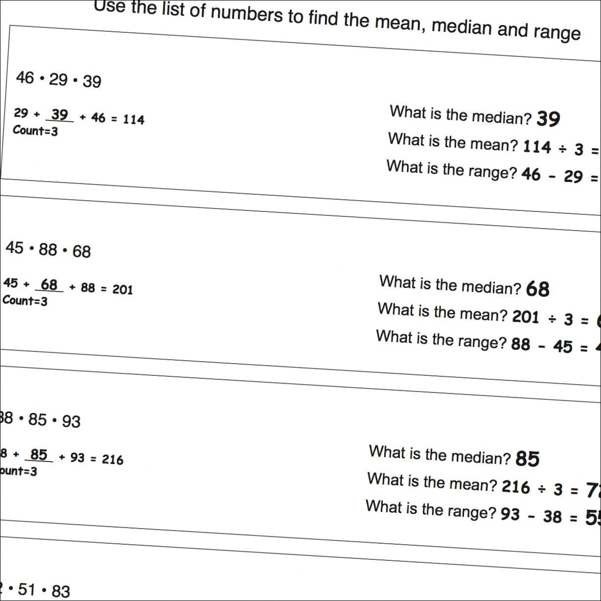 Math Worksheets Mean Median Range Worksheets That Are