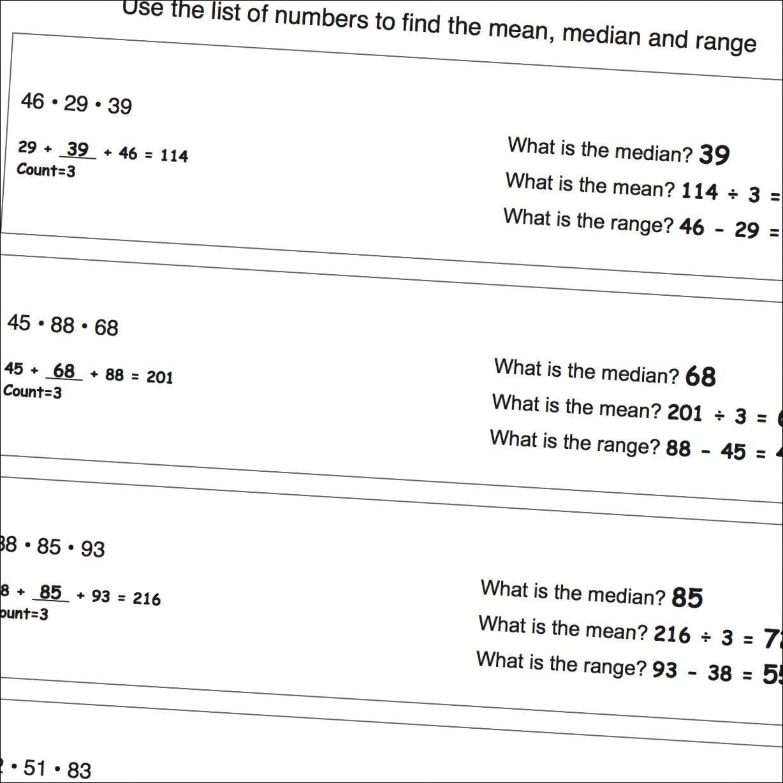 Math Worksheets Mean Median Range Worksheets That Are