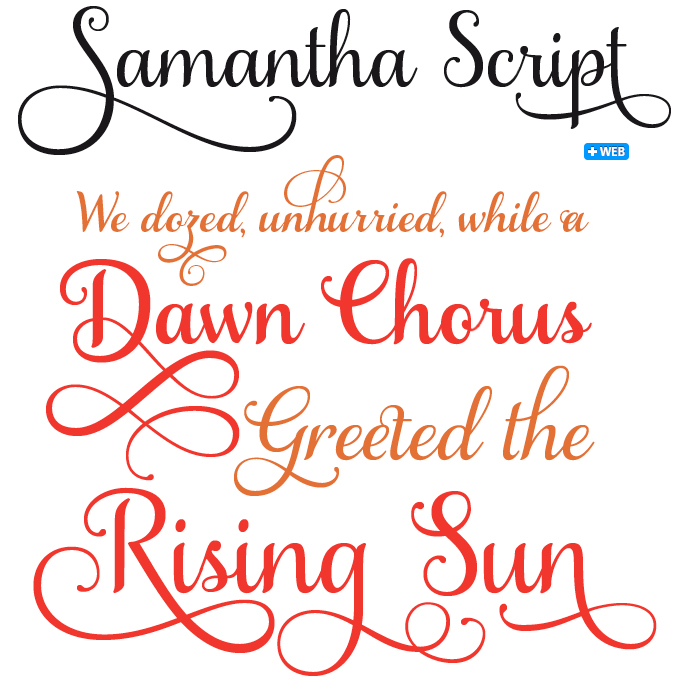 Samantha Script font sample--not a free font but I love this ...