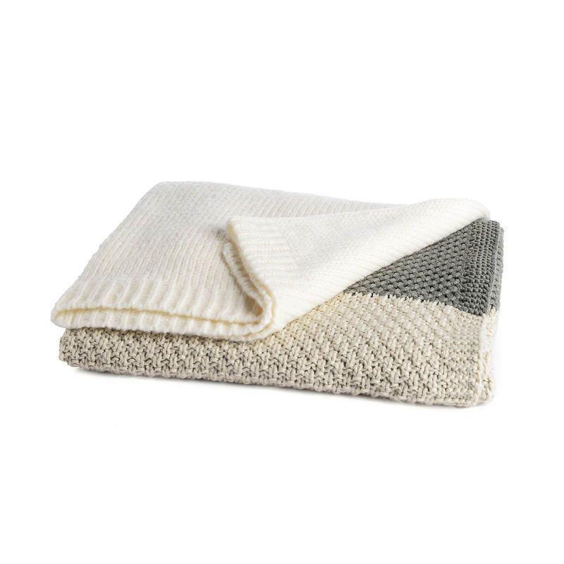 Decke knitted stripe, B:150cm x L:200cm, mintgrün