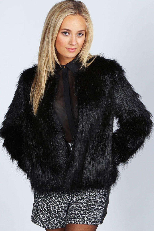 boohoo Rachel Black Edge To Edge Faux Fur Coat - black | Coats ...