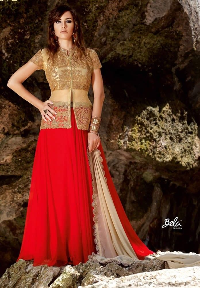 Designer Red Colour Net Party Wear Gown   dolls   Pinterest   Red ...