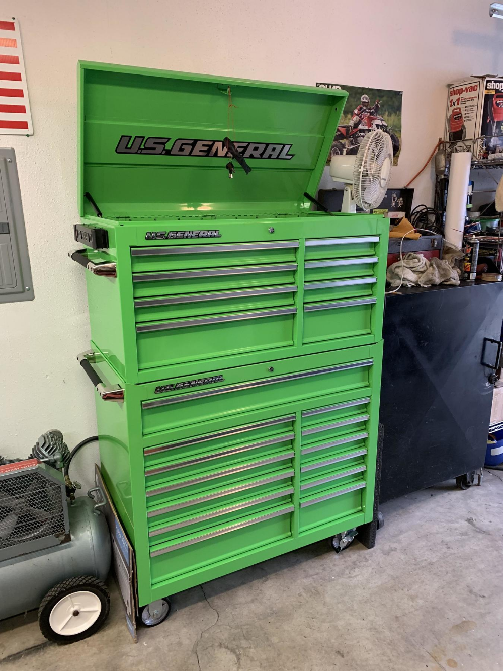 44 In X 22 In Double Bank Green Roller Cabinet With Images Tool Box Organization Roller Tool Storage