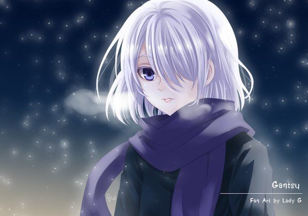 Anime Picture Original Ladygreantep Single Short Hair Looking At Viewer Highres Blue Eyes White Hair Hair Over One Eye Dark Anime Short Hair Styles White Hair