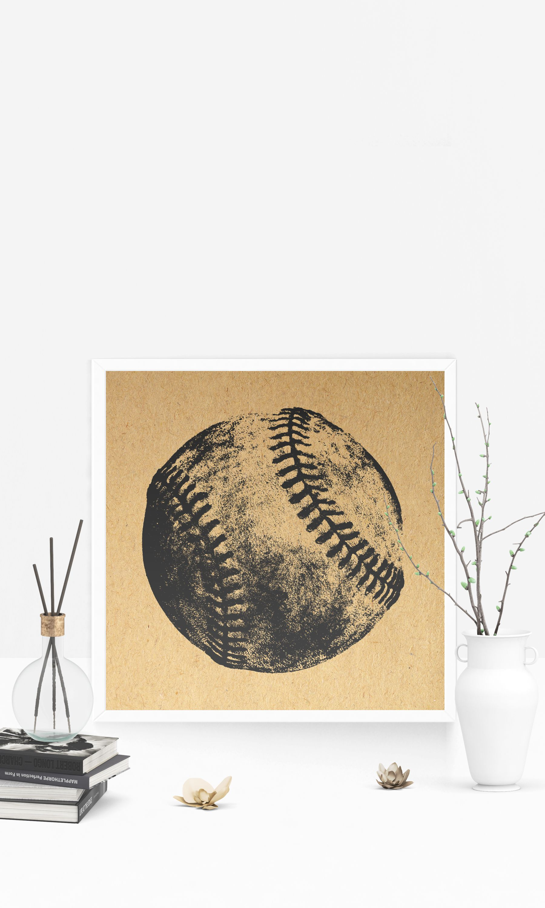 Baseball wall art rustic baseball decorative poster or print with a
