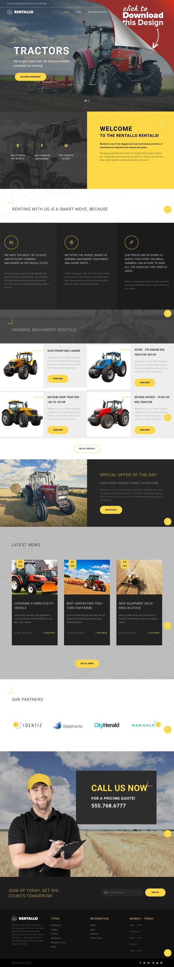Rentallo - Tema WordPress para Sitio de Alquiler de Maquinaria y ...