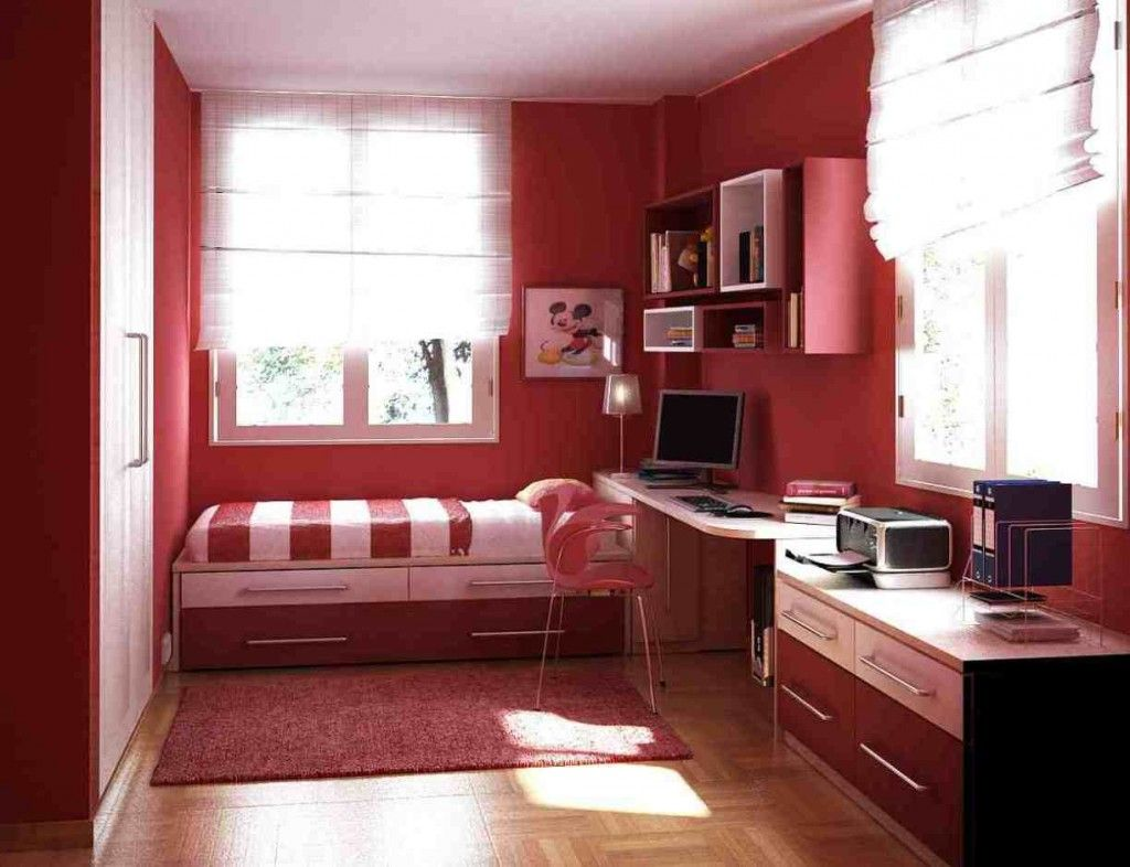 Bedroom color ideas for small rooms - Teen Room Red Bedroom Design Ideas For Small Space With Laminate Floor Design And Small Red Rug With Single Bed With Computer Table Design And Chair For