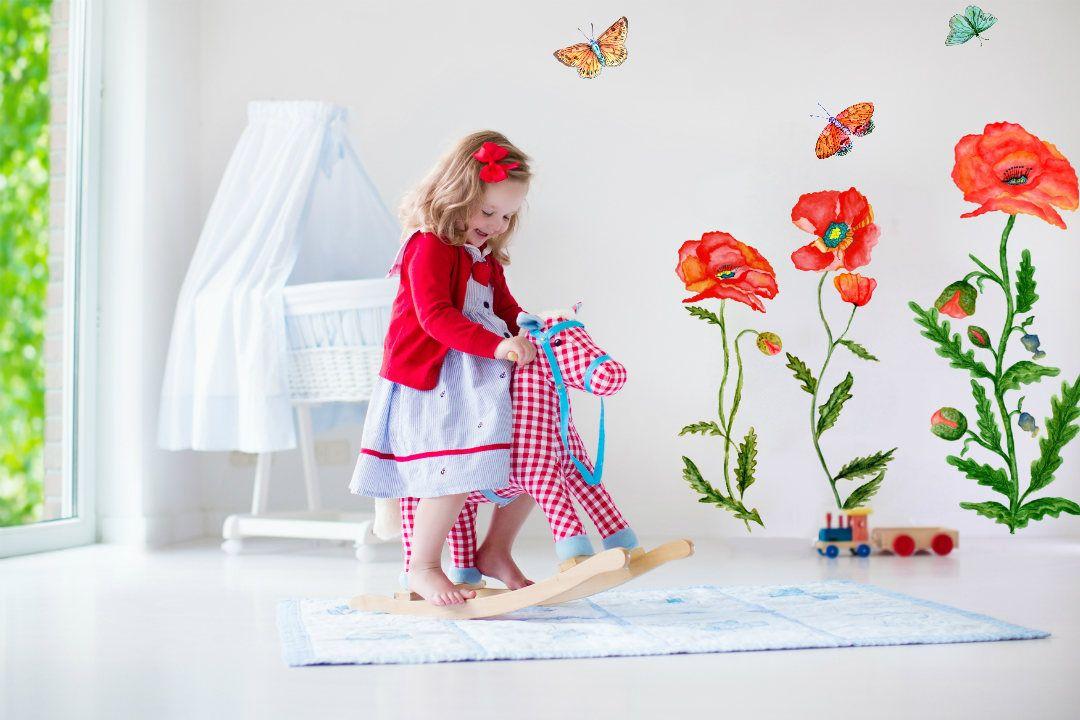 Mohnblumen Wandtattoo Fur Kinderzimmer Wandtattoo Blume Mobelaufkleber Inspiriert Durch Das Zauberland Von Oz Madchenzimmer Ideen Wandtattoo Blumen Blumen Wandtattoos Und Kindergarten Wandtattoos