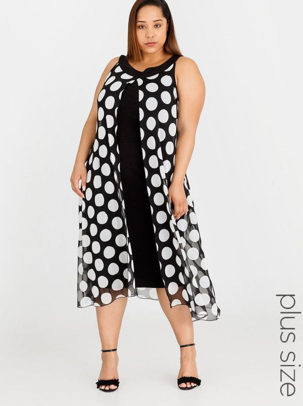 c045cc02e1e Queenspark Plus Big Spot Mesh Knit Dress Black and White ... NBNB Spree