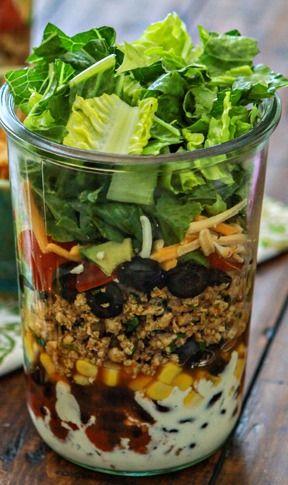 Layered Ground Chicken Taco Salad
