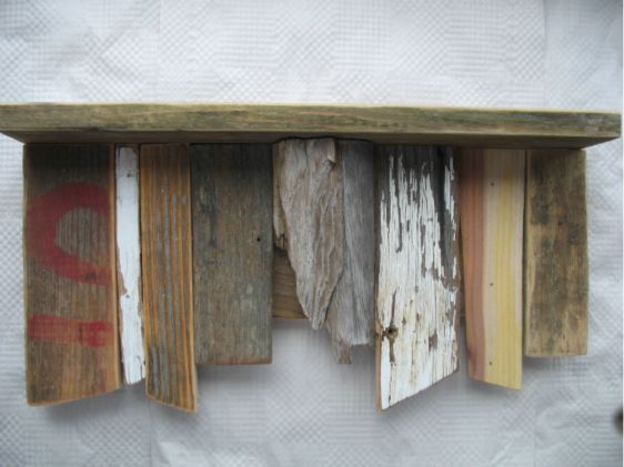 Shelf Recycled Wood Chippy Paint Rustic Primitive Furniture Driftwood Beach  Decor