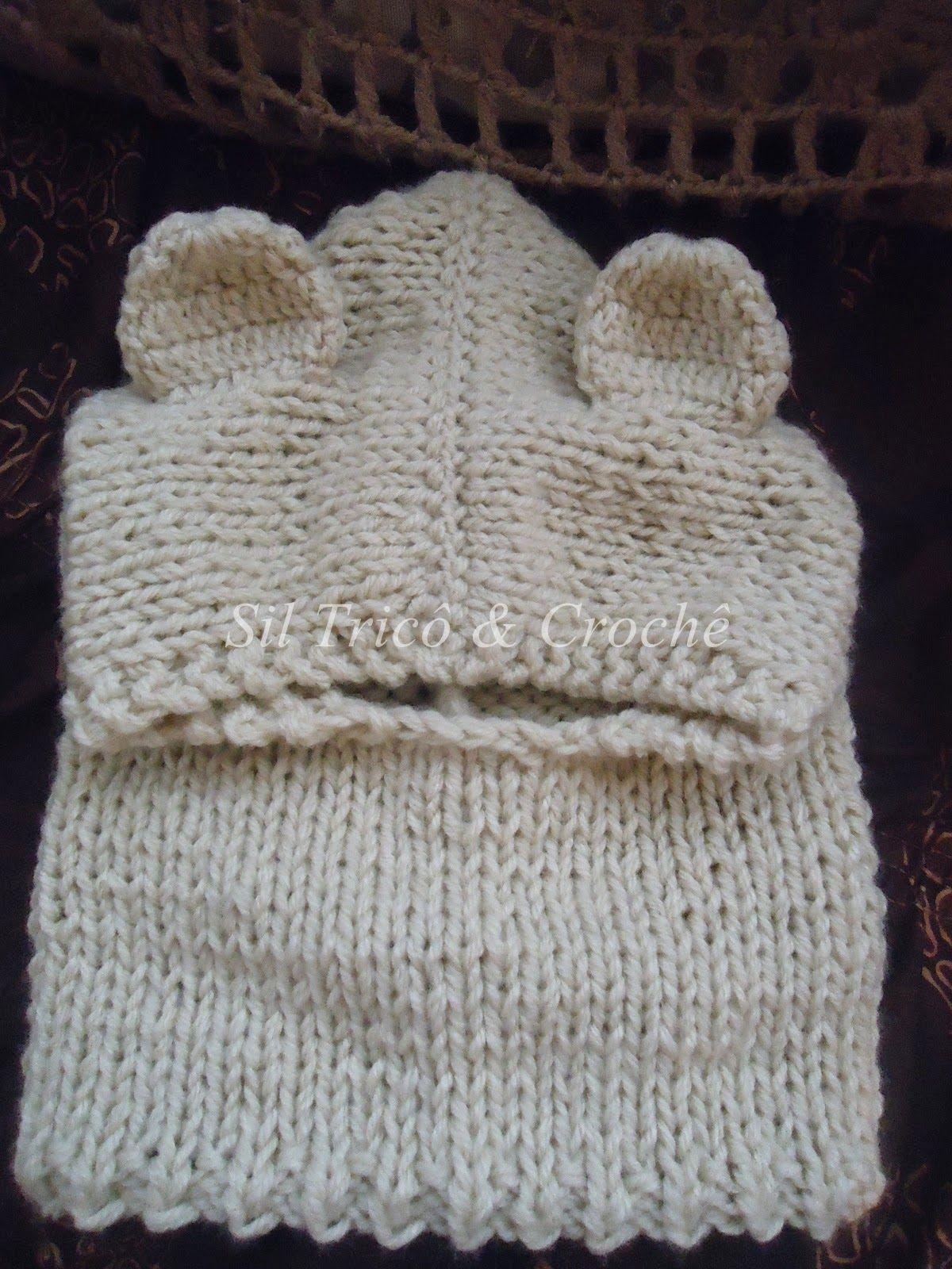 f0a97403ee5d0 Sil Tricô  Receita de Gola com Capuz para Bebê em tricô Gorros De Trico