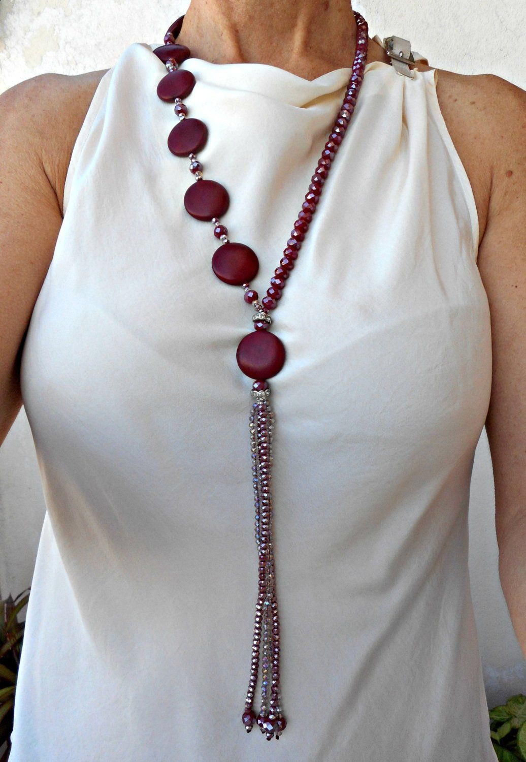 Photo of Red bead necklace Burgundy necklace Red necklaces for women