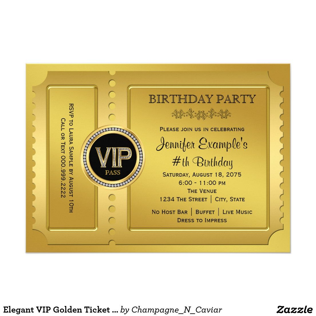 Elegant VIP Golden Ticket Birthday Party 5x7 Paper Invitation Card ...