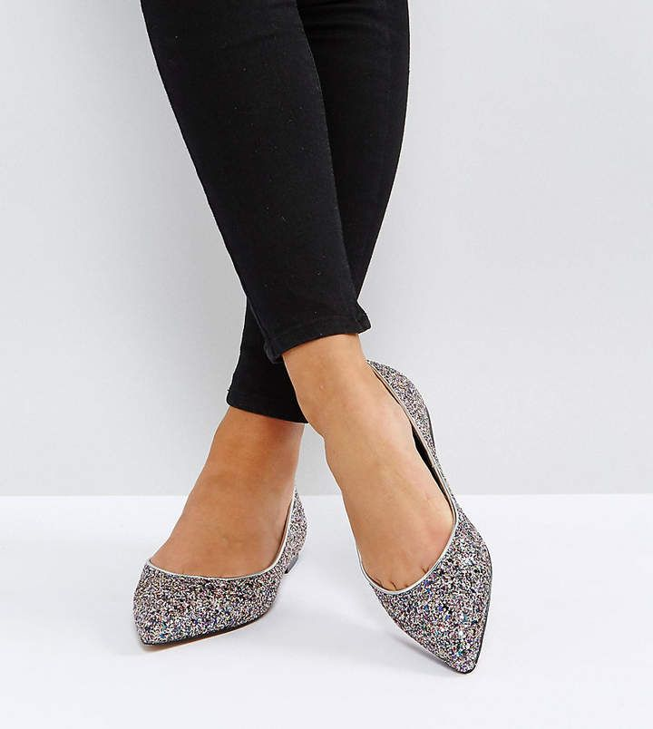 LATCH Wide Fit Pointed Ballet Flats - Snake Asos Official Online XjlxA6