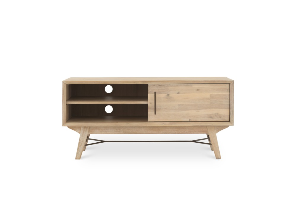 The Miles Tv Console Is Made With Solid Acacia Wood That Has Been White Washed And Sanded To A Smooth Finish The Pa Mid Century Legs Guest Room Decor Castlery