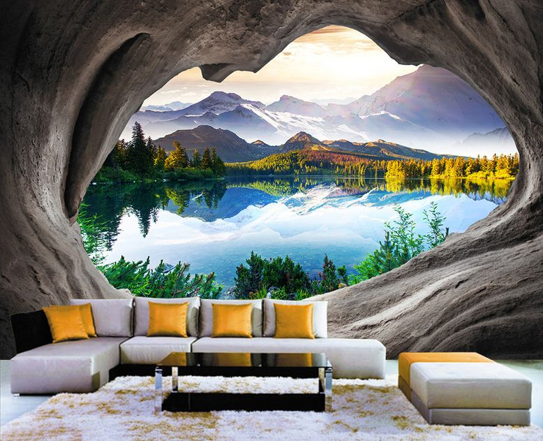 papier peint photo trompe l 39 il 3d trou dans le mur paysage nature le lac papier peint photo. Black Bedroom Furniture Sets. Home Design Ideas