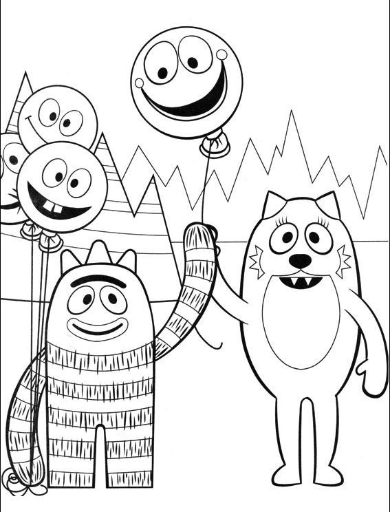 Yo Gabba Gabba Coloring Page Brobee And Toodee Yo Gabba Gabba Gabba Gabba Coloring Pages For Kids