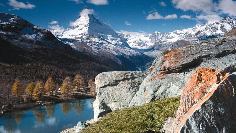 The Matterhorn is one of the highest mountain peaks in the Alps, its dramatic pyramid peak stands proudly at 4478m. Discover the beauty of this wondrous mountain as you walk along the haute route from Brig down to Zermatt: View across to the Matterhorn