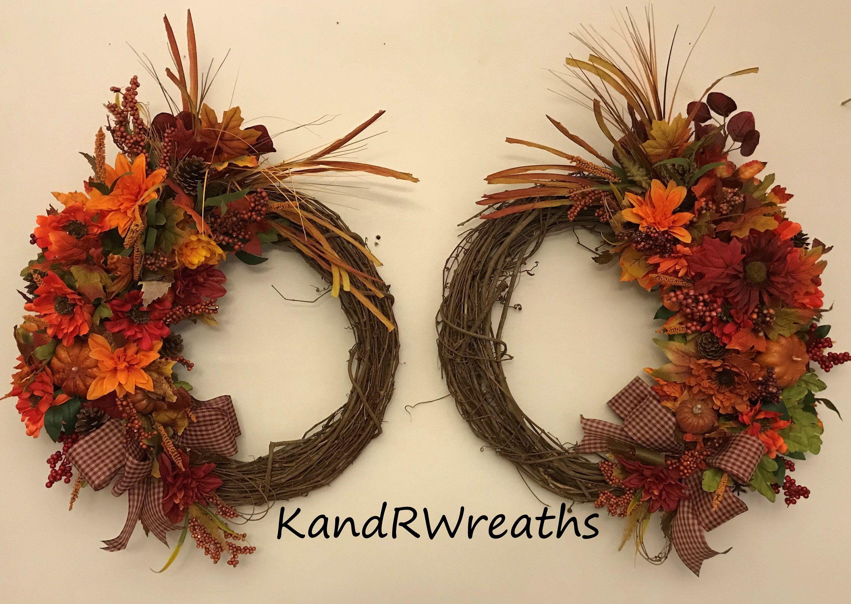 Double Door Wreath-Fall Decor Wreath-Rustic Fall Decorations-Rustic Fall Wreath-Hydrangea Fall Wreath-Outdoor Wreath-Double Door Fall Wreath