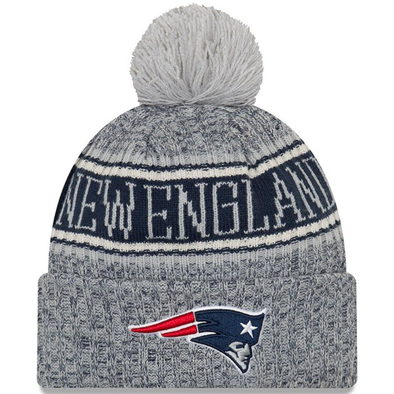 48b4c52f1bb3b New England Patriots New Era 2018 NFL Sideline Cold Weather Reverse Sport  Knit Hat – Gray