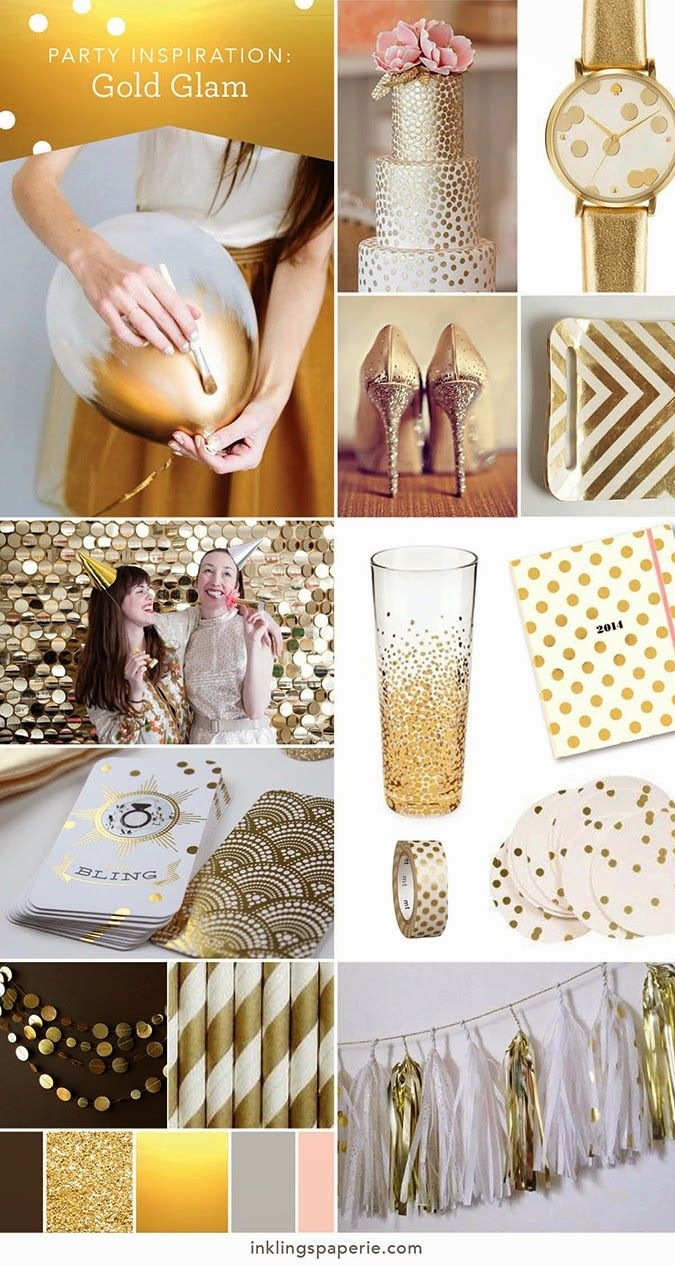 1920's themed wedding decorations  Inklings Paperie Party Inspiration Gold Wedding and Party Ideas