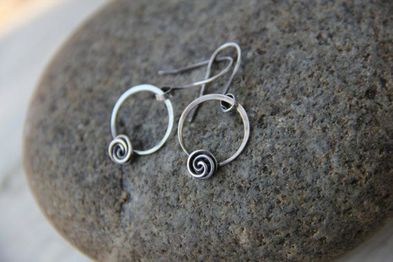 Rose bud knot minimalist sterling silver or copper round earrings, hoop and flower earrings, dainty earrings, petite earrings