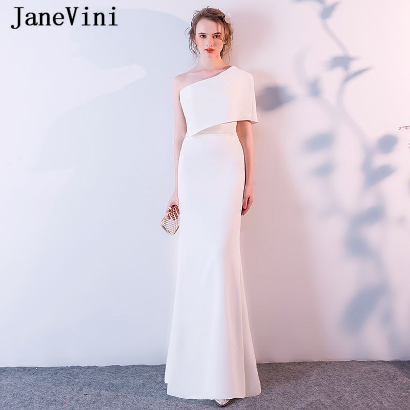 JaneVini White Long Bridesmaid Dresses Mermaid One Shoulder Satin Floor  Length Simple African Women Formal Prom Gowns Plus Size 549c4b8ac3ee