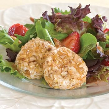 Ingredients Makes:  8 servings 2 (4-ounce) goat cheese logs 2 (3.5-ounce) bags salad topping roasted pecan and almond pieces, divided, Naturally Fresh® 2 (