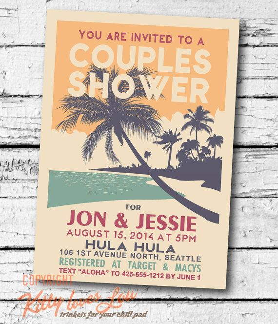 printable couples shower invitation retro hawaiian luau bridal wedding engagement birthday party invite hawaiian luau
