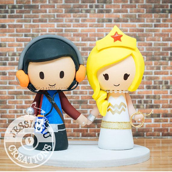 Star Lord & Wonder Woman Wedding Cake Topper - Comic Book, Marvel ...