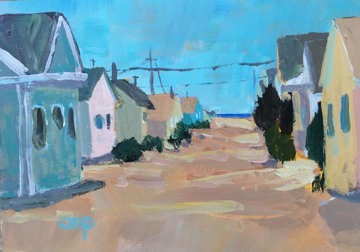 A personal favorite from my Etsy shop https://www.etsy.com/listing/455746558/beach-decor-beach-cottages-seaside-art