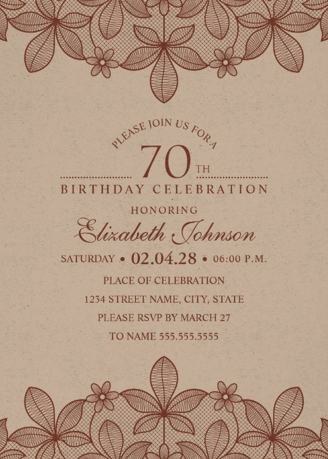 Elegant Lace 70th Birthday Invitations - Creative Luxury Cards ...